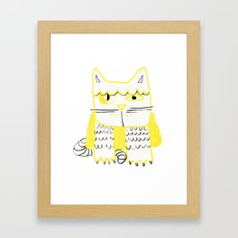 Yellow Black Cat Doodle Framed Art Print
