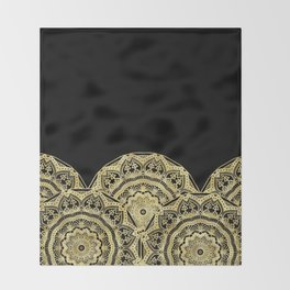 Golden Mandalas on Black Throw Blanket