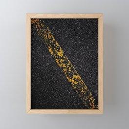Old Yellow painted line on asphalt road Framed Mini Art Print