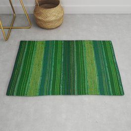 Green Vertical Stripes Japanese Shima-Shima Pattern Rug