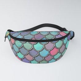 Colorful Watercolor Mermaid Scales Fanny Pack