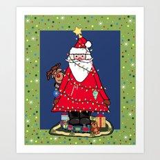 Santa Tree Art Print