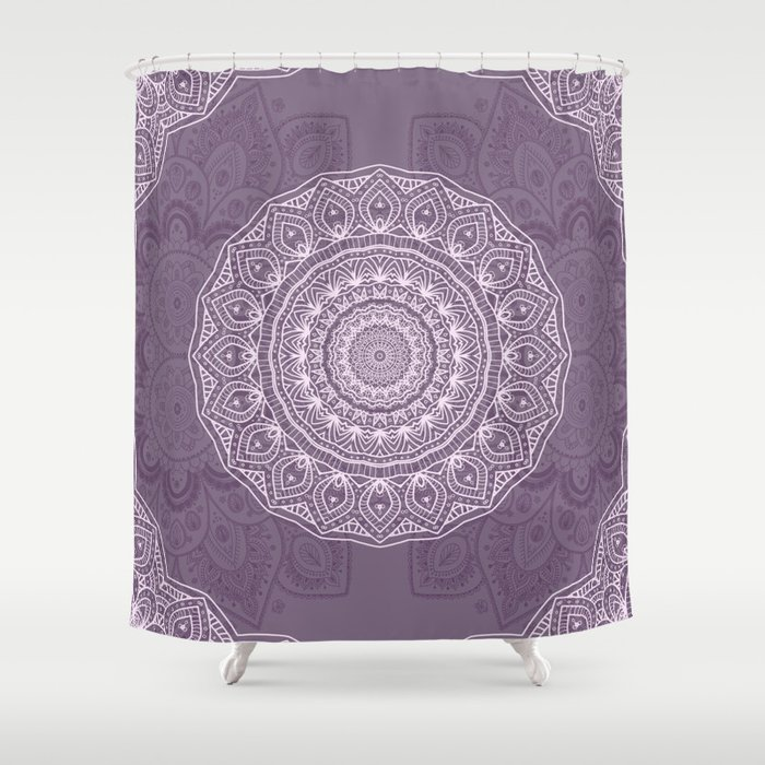 White Lace on Lavender Shower Curtain by lena127 | Society6