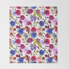 Magenta pink navy blue lilac watercolor floral Throw Blanket