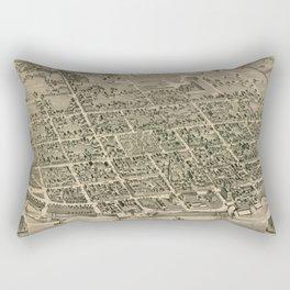 Vintage Pictorial Map of Fredericton New Brunswick (1882) Rectangular Pillow