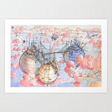 Le Tre Mongolfiere Art Print