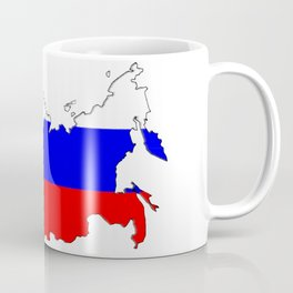 Russia Map with Russian Flag Coffee Mug