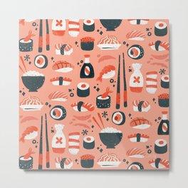 Sushi Dreams – Coral Metal Print