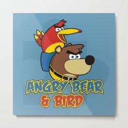 Angry Bear & Bird Metal Print