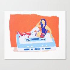 80's Girl Roller Skater  - Music Tape Canvas Print