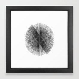 Black & White Mid Century Modern Radiating Lines Geometric Abstract Framed Art Print