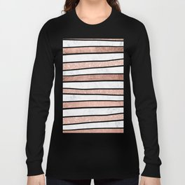 Modern faux rose gold glitter foil marble stripes pattern Long Sleeve T-shirt