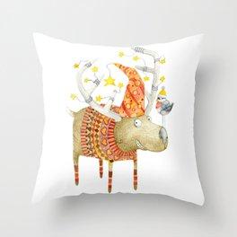 Christmas Reindeer watercolour art Throw Pillow