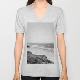 Beach Horizon | Black and White Color Sky Ocean Water Waves Coastal Landscape Photograph Unisex V-Neck