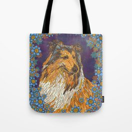 Rough Collie and Blue Flowers Tote Bag