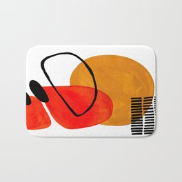 Mid Century Modern Abstract Vintage Pop Art Space Age Pattern Orange Yellow Black Orbit Accent Badematte