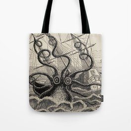 """The octopus; or, The """"Devil-fish"""" - Henry Lee - 1875 Giant Octopus Sinking Ship Tote Bag"""