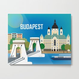 Budapest, Hungary - Skyline Illustration by Loose Petals Metal Print