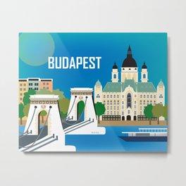 Budapest, Hungary - Skyline Illustration by Loose Petals Metal Print