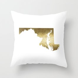 maryland gold foil state map Throw Pillow