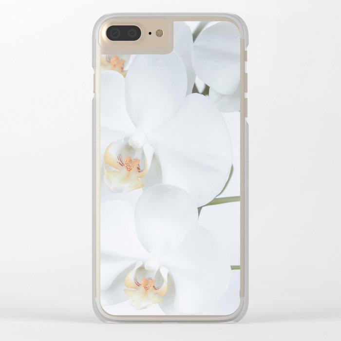 White orchids flowers pure white romantic Clear iPhone Case