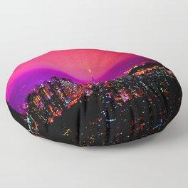 City Skyline Fuchsia Pink Sunset Floor Pillow