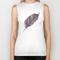 feather Biker Tanks featuring FEATHER by Monika Strigel