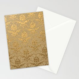 Gold Metallic Damask Beige Stationery Cards
