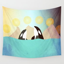 Orcas under the Sun Wall Tapestry