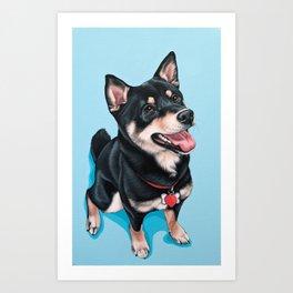 Happy Shiba Inu Puppy Painting, Black Shiba Artwork, Portrait of a Happy Shiba Inu Art Print