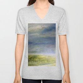 Sea Shore Watercolor Ocean Landscape Nature Art Unisex V-Neck