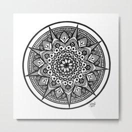 Black and White Star Inspired Mandala Art Metal Print