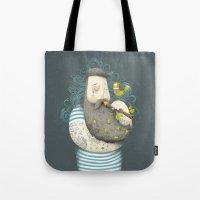 wesley bird Tote Bags featuring Bird by Seaside Spirit