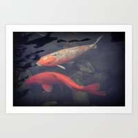 koi fish Art Prints featuring Koi Fish by KunstFabrik_StaticMovement Manu Jobst