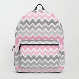 Grey Gray Pink Ombre Chevron Backpack