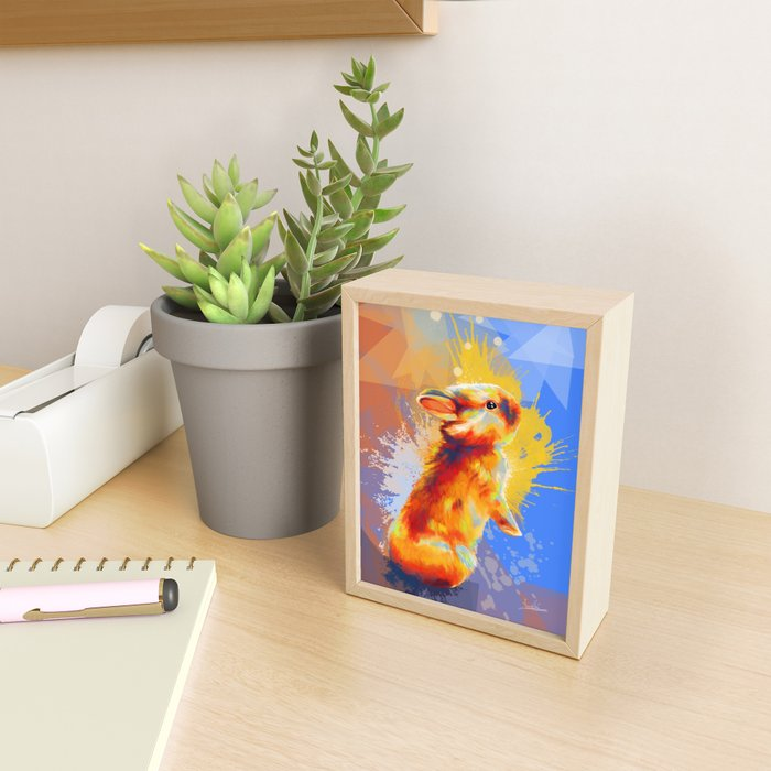 Colors of Fluff - Bunny portrait Framed Mini Art Print