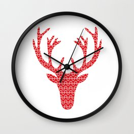 Red deer head Wall Clock