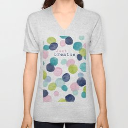 Just Breathe Watercolor Unisex V-Neck