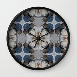 Taupe Linen With Blue Hearts Pattern Wall Clock