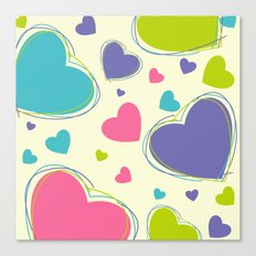 Cute Playful Hearts Pattern Canvas Print