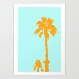 Orange palm trees silhouettes on blue Art Print