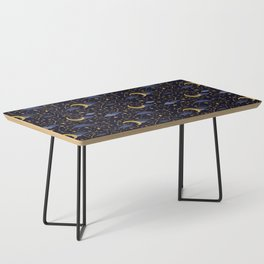 Celestial Stars and Moons in Gold and Dark Blue Coffee Table