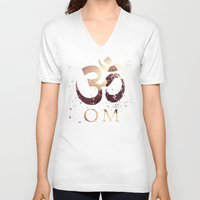 india V-neck T-shirts featuring Om India by Eva Nev