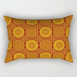 Chinese symbols longevity and abundance gold on red pattern Rectangular Pillow