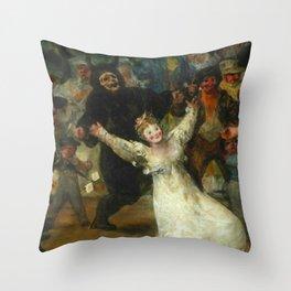 THE BURIAL OF THE SARDINE (detail) - FRANCISCO DE GOYA  Throw Pillow