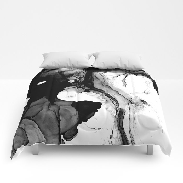 Soft Black Marble Comforters