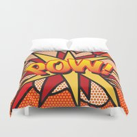 comic book Duvet Covers featuring Comic Book POW! by The Image Zone