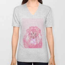 Lion Chewing Bubble Gum in Pink Unisex V-Neck