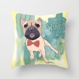 Frenchie Art. Bruno. Throw Pillow