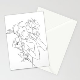 Minimal Line Art Woman with Peonies Stationery Cards